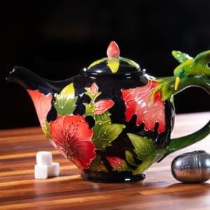 Black Hibiscus Teapot