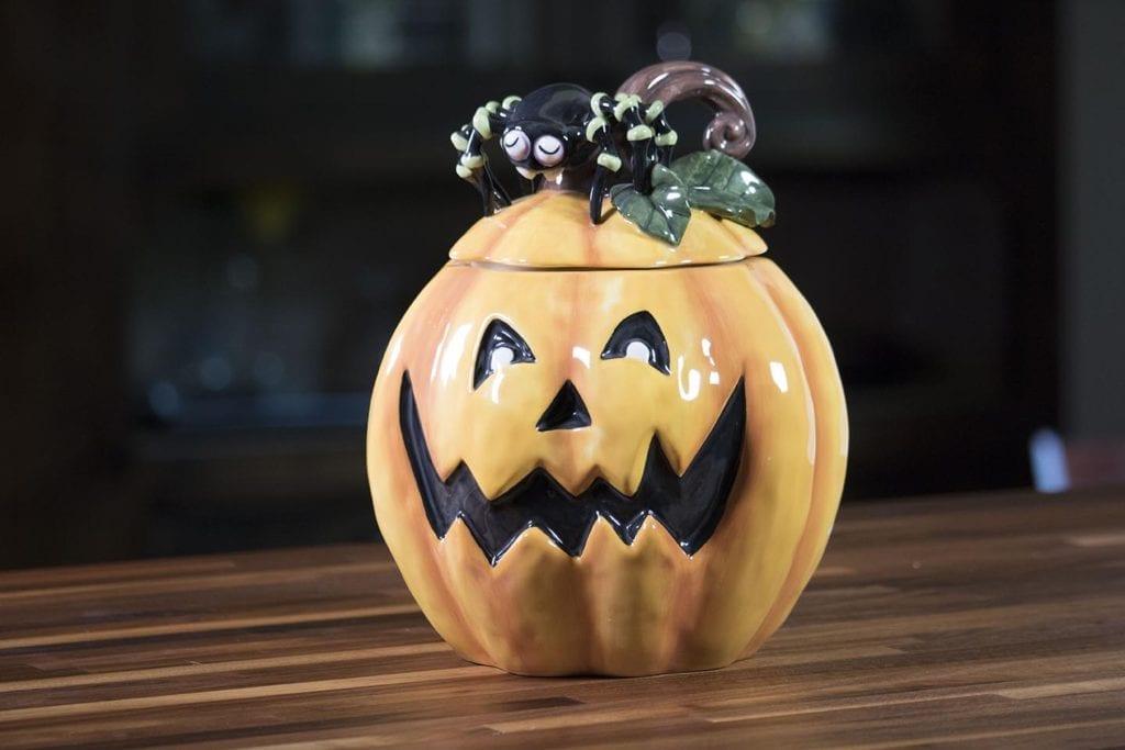 Pumpkin Cookie Jar with Spider