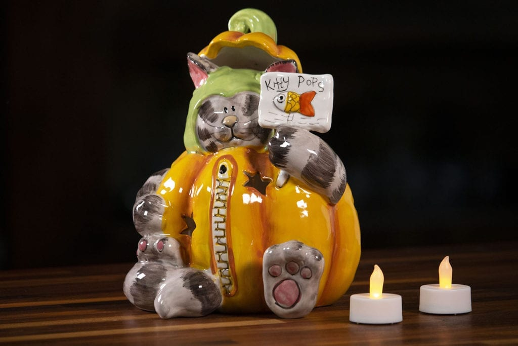 Pumpkin Cat Tealight Holder