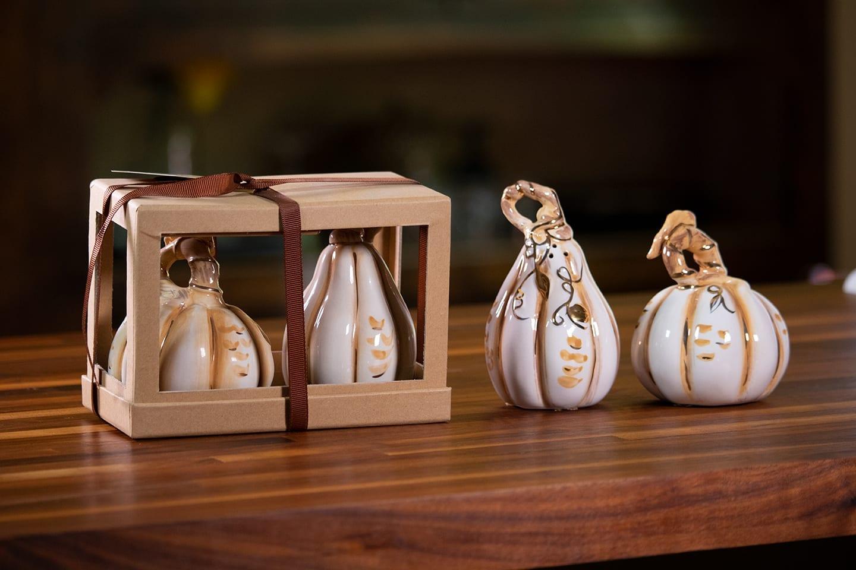 Pumpkin Salt Pepper Set With Gold Buy One Set Get One Free Blue Sky