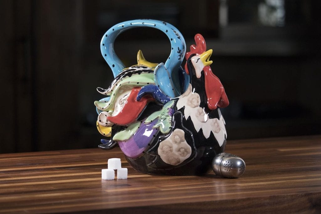 Funky Black Rooster Teapot