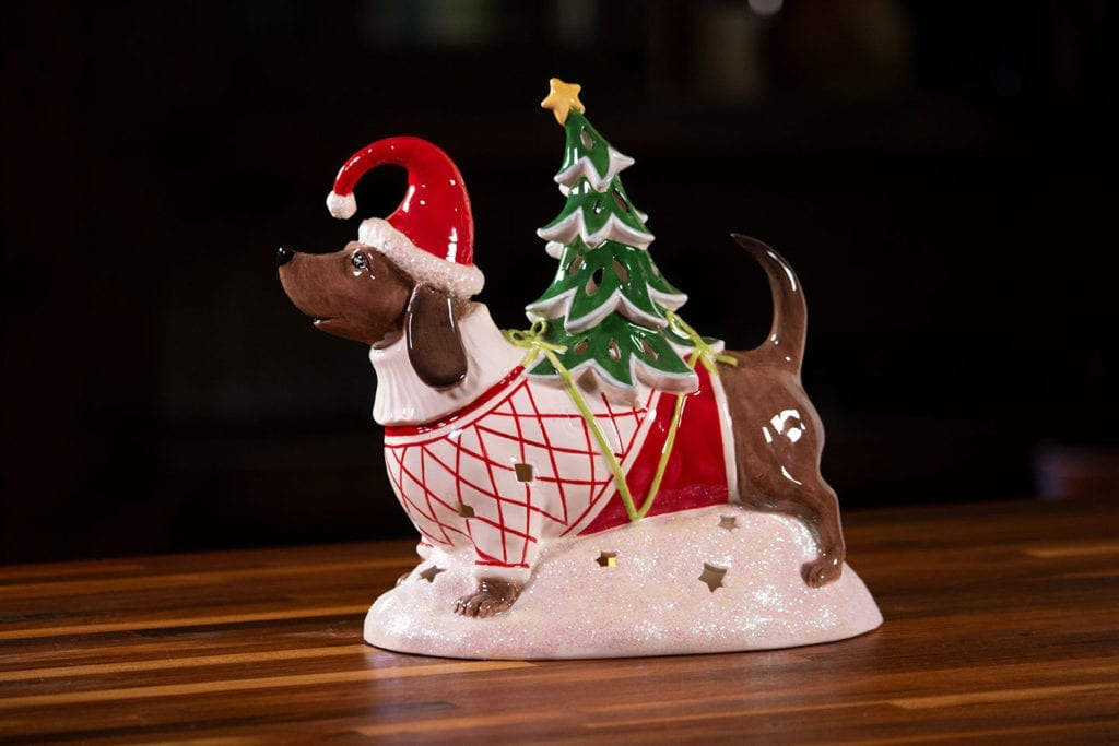 Red Dachshund With Tree Candle House