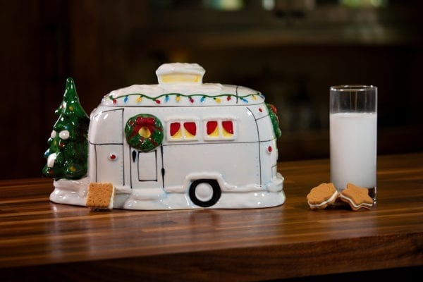 Christmas Silver Camper Cookie Jar
