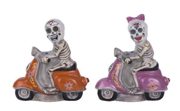 Sugar Skull Scooter Couple Salt & Pepper Set