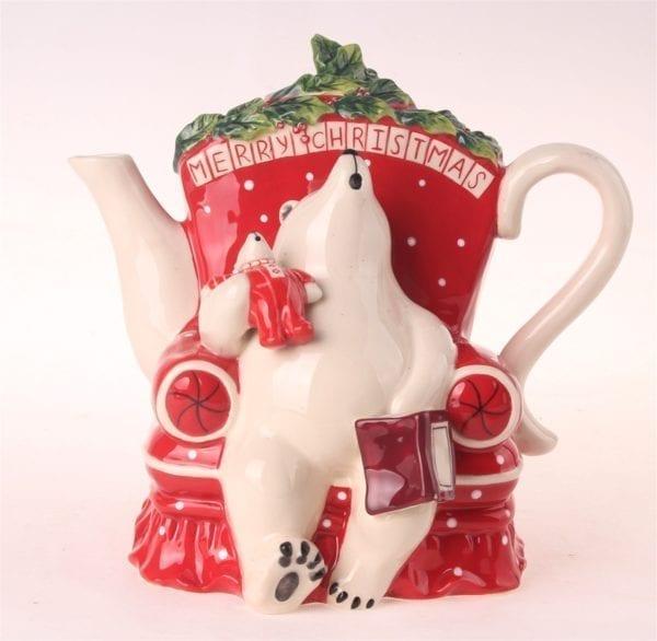 Merry Christmas Bear Teapot