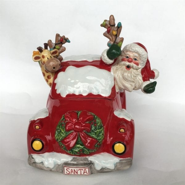 Santa Car Cookie Jar