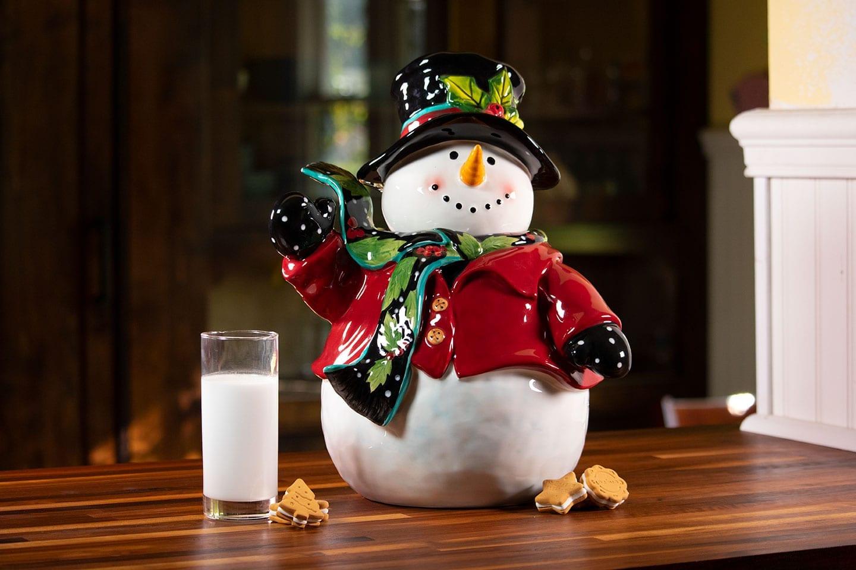 Holly Snowman Cookie Jar Blue Sky