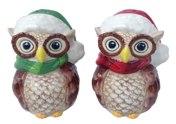 Holiday Owl Salt & Pepper Set