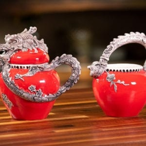 Red Dragon Cream & Sugar Set