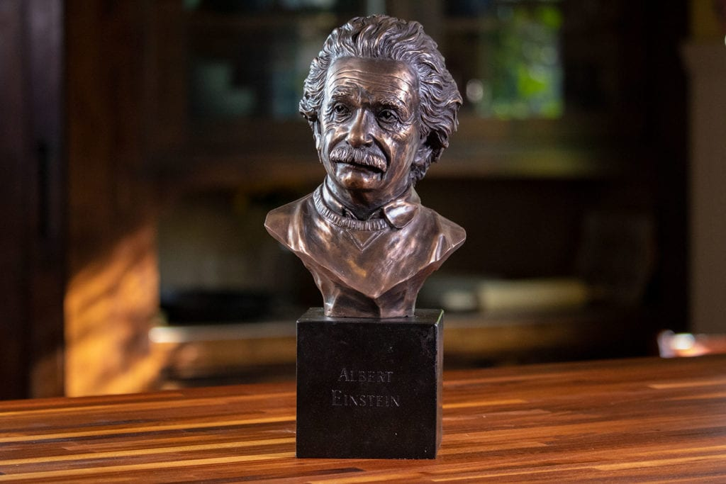 Albert Einstein Bronze Decor Bust