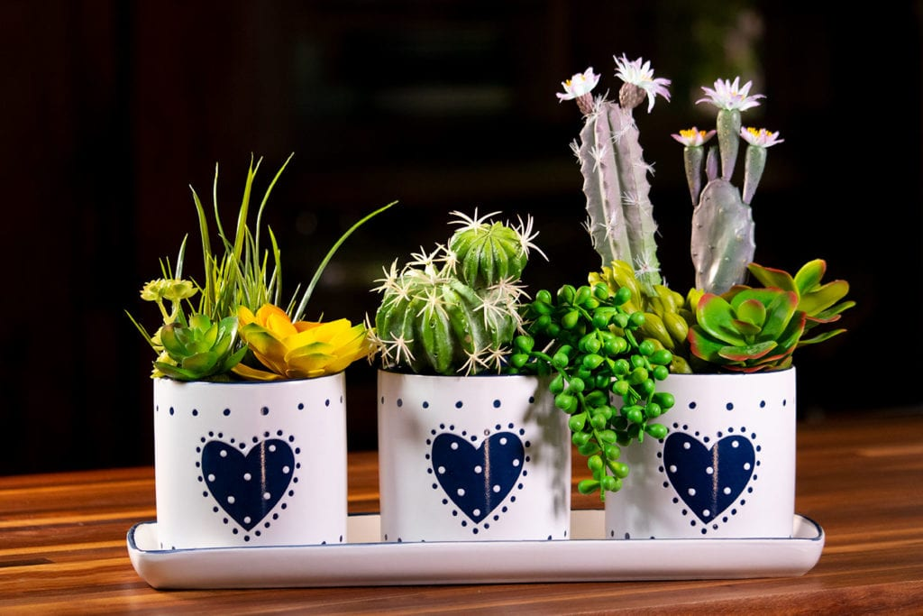"""Country Heart Set of 4"""" Planter Tray"""
