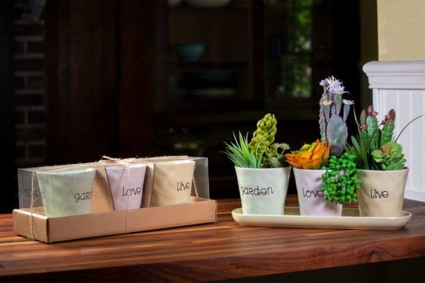 """Live Love Garden Set of 4"""" Planters Tray"""