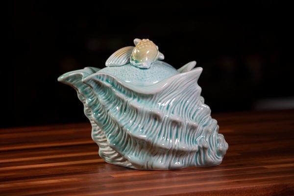 Shell Figural Sugar Bowl Blue