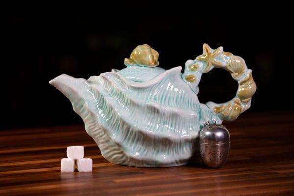 Shell Figural Teapot Blue