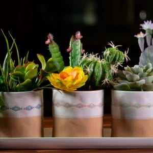 "Navajo Set of 4"" Planters W/ Tray"