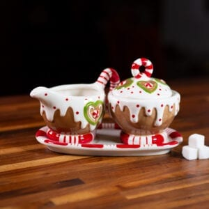 Gingerbread Creamer and Sugar with Tray