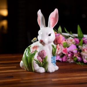 PAINTED BUNNY WITH TULIP AND BUTTERFLY FIGURINE
