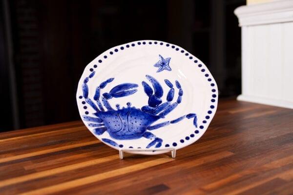 """MAGIC SEA 14"""" ROUND CRAB PLATTER - COBALT BLUE"""