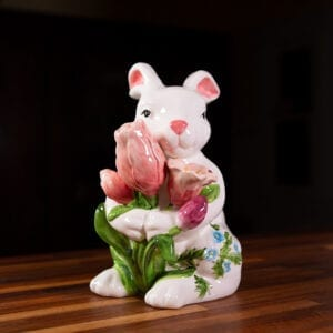 PAINTED BUNNY HOLDING TULIPS FIGURINE