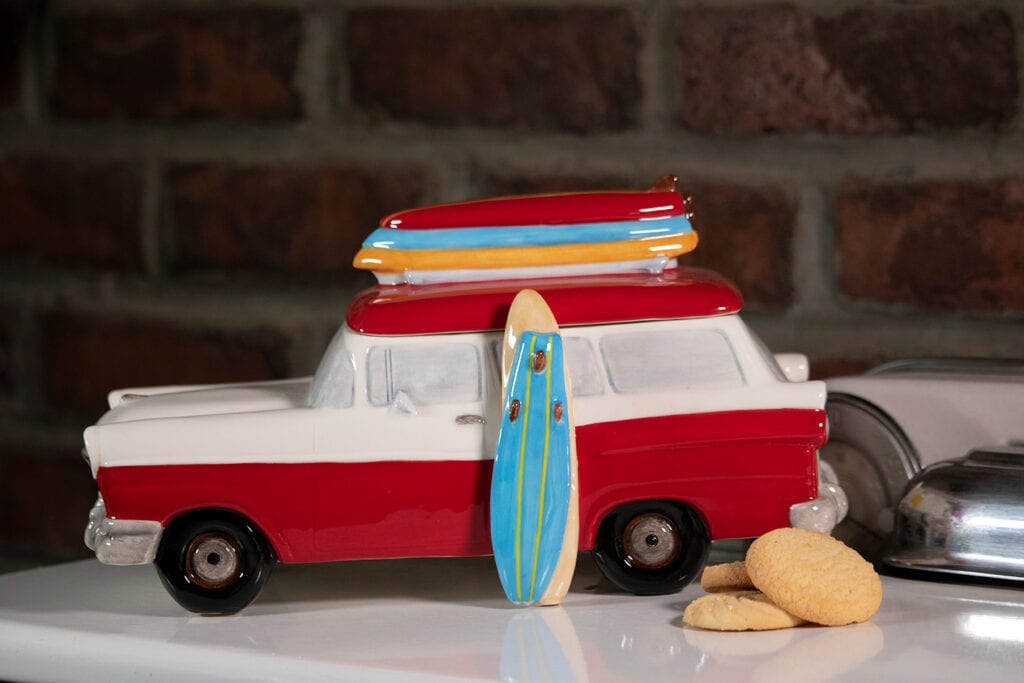 RED SURF WAGON COOKIE JAR