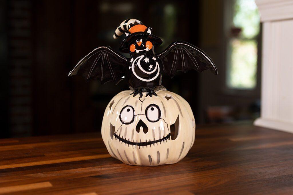 Bat on Gray Pumpkin Tealight Holder